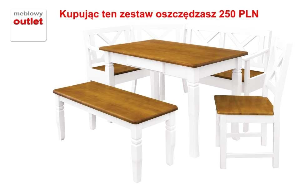 Komplet Provancy ławka Narożna Stół ławka Krzesło